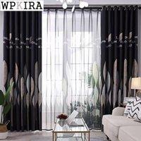 Cortinas cortinas nórdicas hoja para sala de estar Blackout Drape Dormitorio Shade Cloth French Windows Fabric Pershers Screen S572 # 40