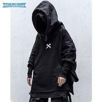 Japonés Streetwear Man Sudaderas con capucha Hip Hop Bordado Pájaro Patchwork Falso Darkwear Tops Techwear Hoodies Michalkova LJ201028