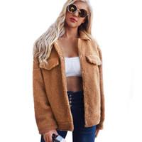 Женский меховой из искусственных женщин зимний теплый пальто ямбвуловая плюшевая куртка повседневные топы короткие кнопки дизайн