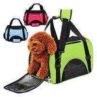 고양이 캐리어, 상자 접는 애완 동물 운반 가방 나일론 휴대용 개 여행 야외 작은 운반 핸드백 외부 나일론 통기성 메쉬 캐리어