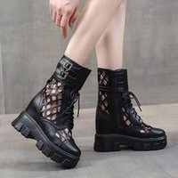 Ankle Boots for Women Black Hollow Out Motorcycle Boots Woma...