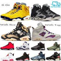 Con la caja de Jumpman 6 6s zapatos de baloncesto del Mens raso Travis Scotts retro Hare Quai 54 Tech cromo negro por infrarrojos gato DMP Entrenadores zapatillas de deporte