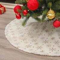 Yılbaşı Ağacı Etekler Faux Kürk Beyaz Peluş Altın / Gümüş Kar Tanesi Noel ağacı Mat Ağacı Etek Noel Yılbaşı Parti Süsleri