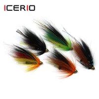 ICERIO 10шт Conehead Tube Streamer Муха для лосося и форели Steelhead Fly рыболовных приманок 201106