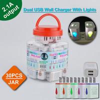 Cargador de pared USB dual con luces LED Forma de gota 2.1A 2USB CARGA Teléfono móvil Dispositivo electrónico en tarro de plástico Multi Colors