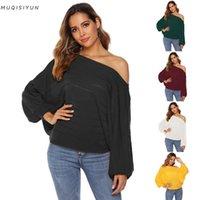 Suéteres de mujer de hombro sexy suéter para mujer 2021 invierno simple casual versátil una palabra collar linterna manga larga color sólido suelto