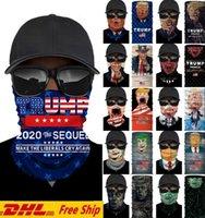 Trump 2020 Bütünleme Amerika Büyük Yüz Maskeleri Açık Bisiklet Sporları Bandana Fonksiyonlu Şapkalar Kafa Magic Eşarp Boyun tozluk