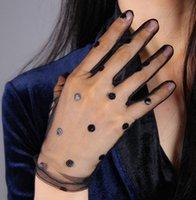 Женская сексуальная прозрачная точка печать черной сетки перчатка женской летние солнцезащитной партия клуба танцы перчатка R1910