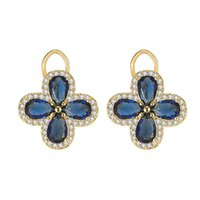Stud Vintage Royal Trevo Azul Cristal Sapphire Gemstones Brincos Diamantes para Mulheres Gold Color Jóias Bijoux Party Accessorie