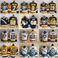 Mens Pittsburgh 8 Mark Recchi Hóquei Jerseys Pinguins 7 Joe Mullen 10 Ron Francis 19 Bryan Trottier 68 Jaromir Jagr Vintage CCM Costurado