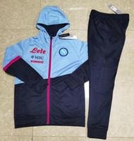 Mens Napoli Futebol Tracksuit Zip Jacket Hoodie 2020 2021 Homens Futebol Tracksuit Treinamento Tuta Tuta Chandal Surviting Jogging