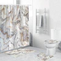 Mermer Mürekkep Doku Duş Perdesi 4 Parça Yumuşak Banyo Seti Lüks Grafik Baskı Polyester Kumaş Kanca Ile 3 Boyutu T200711