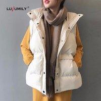 Lusumily 2020 Корейский стиль зима Женщины жилет теплый моды вниз хлопка проложенный рукавов куртки Женский воротник отложной Жилет