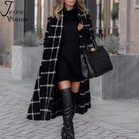 Jessie Vinson Vintage Black Capuche Plaid Habilde Trench Trench Coat Femme Chic High Street Brise-vent Ceinturé Trench Boîte Hiver 201221