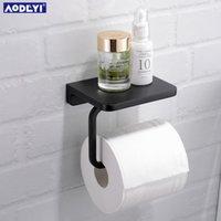 Aodeyi Латунь Туалетная бумага держатель ткани вешалка для ванной комната держатель бумаги держатель телефона шельфа матовый черный хромированный золотой настенный держатель T200425