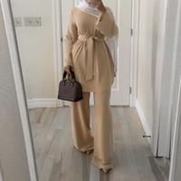 CAFTAN MAROCAIN DUBAI ABAYA Turco Set Musulmán Hijab Vestido Marroquí Kaftan Robe Islam Elbise Ropa islámica para mujeres Ropa