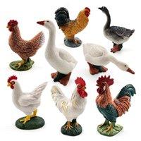 Objets décoratifs Figurines Ornements miniatures Accueil Décoration Swan Hen Animal Modèle Coq Poulet Accessoires Fairy Jardin