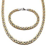 modo caldo di vendita argento tono collana Acciaio Mens Bracciale piatto bizantina Lunghezza catena 22 pollici