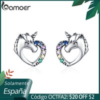 Bamoer Şanslı Licorne Saplama Küpe Kız Renkli At Kulak Çiviler 925 Ayar Gümüş Anti-alerji Takı Çocuklar için SCE611