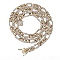 Herren Trendy Schmuck Gold Silber Farbe Euro ausgeschnittene Figur CZ Figaro Ketten Halskette Herren Bling Diamant Link Kette Rapper Hiphop Charms Geschenk