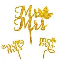 Sr. Sra. Banderas de pastel de acrílico Love Heart Clover Black White Gold Silver Cake Topper para la decoración de la fiesta de bodas