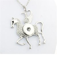 Boom Life Horse 040121 Crystal Snap Button Jewelry Collares y chokers exagerados para mujeres (FIT 18mm 20mm SNAPS JLLLCZJ