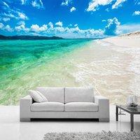 사용자 정의 벽화 푸른 하늘 흰 구름 바다 물 비치 풍경 벽화 현대 침실 거실 소파 TV의 배경 화면 배경 화면