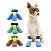 4 unids / Establecer calcetines de perros a prueba de agua Calcetines antideslizantes para pequeños perros grandes invierno zapatos de deslizamiento al aire libre cálido para el desgaste 20A1