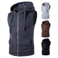 Yepyeni Katı yelek erkekler Moda Kolsuz Kapüşonlular Hırkalar Ceket Sonbahar Nedensel Fermuar Yelek Yelek Giyim Pockets