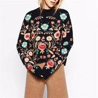 Teyynn nero floreale ricamo maglione pullover donne boho manica lunga o-collo autunno inverno jumper superiore maglioni a maglia chiuso Y200909