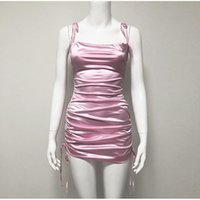 Colysmo Sexy Vestido de Verão 2020 Mulheres Spaghetti Correias Bodycon Dress Stretch Multi Desgaste Ruched Club Satin Vestido Vestidos Novo Y0118