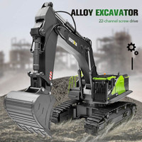 Huina 593 1: 14 RC Excavator 22CH Rotation Alloy Green RC Rem...