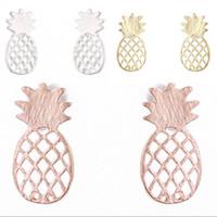 Ananas stud örhängen legering elektroplätering smycken örhängen pläterad guld silver ros frukt matt yta örhängen 1 2fm g2b