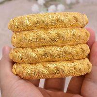 Annayoyo 4 teile / los Äthiopier Afrika 24k Mode Gold Farbe Armreifen Für Frauen Afrikanische Braut Armband Schmuck Geschenke