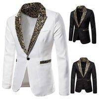 Fatos masculinos blazers voga bom padrão homens padrão xale lapela fazendo casamento noivo tuxedo jaqueta slim party roupas1