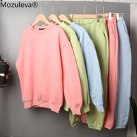 Mozuleva Nova Outono Mulheres Camisola 2 Parte Sets Manga Longa Sportwear Sportwear Sweater e Pant Suit 2 Pcs Outfits 6 Cores 201119