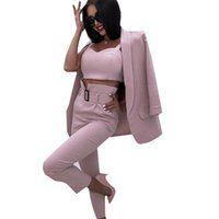 MVGIRLRU Женский трексуит офисные дамы сплошные 3 штуки набор без бутырей мягкие пиджаки Camistops и трусики женские брюки костюмы 201104