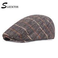 Erkekler Moda Düz Cap giriş saçakları için SLECKTON Erkekler Tweed Ekose Bereliler Şapka Casual Newsboy Caps Cap Unisex Balıksırtı Ivy Şapka Peaked