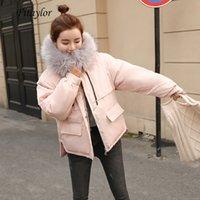 Fitaylor искусственного меха Воротник Короткие ветровки Сыпучие вниз хлопка пальто зимы женщин с капюшоном куртки Розовый Черный Burgundy снег Outwear 201014