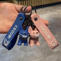 Classique Français Punk Bulldog Man Chain Masque Car KeyChains Bijoux en cuir PU chien Porte-clés Femme Sac Accessoires charme