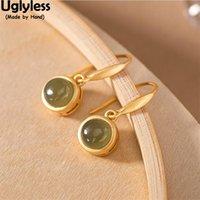 DANNGLE LANDELIER Minimalisme ultrafless Perfect Gémères rondes Robe Boucles d'oreilles pour femmes Real Or 925 Argent Brincos Green Jade Fashion