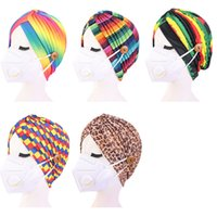 Womens Indian Turban Hat Leopard Rainbow Tie Dye Color Head Wrap Separable Chemo Pleised Gorra con máscara facial Botones Moda 2021 G12304