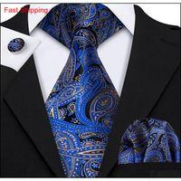 Wholesale Classic Paisely шеи галстук набор шелковых чеков запонки жаккардовые тканые галстуки мужская галстука набор бизнес PA Qylmvv Queen66