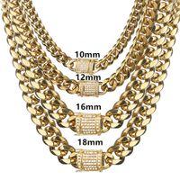 6-18 ملليمتر واسعة الفولاذ الصلب الكوبي ميامي سلاسل القلائد تشيكوسلوفاكيا الزركون مربع قفل كبيرة الثقيلة الذهب سلسلة الهيب هوب المجوهرات