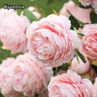Kyunovia Rosa Decoration Artificial Silk Flowers Leaves 3 heads Long Roses Stem Velvet Rose Wedding Party Home Decorative KY39