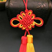 5 unid nudos chinos rojo amarillo borla doble llavero llavero correas de bricolaje joyería haciendo encanto colgante artesanía accesorios artesanía tassel h jlpbc