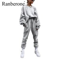 Ropa de gimnasio Ranberone Women Traje de chándal sudadera femenina sobredimensionada Pantalones elásticos Set de otoño Trajes de invierno Moda Sudaderas sólidas 202