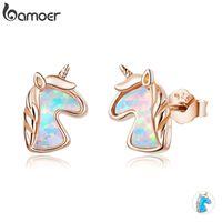 Bamoer 2 Farbe Opal Licorne Ohrstecker für Frauen 925 Sterling Silber Modeschmuck Brincos Dropshipping SCE815 201113