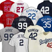 99 Aaron Juez 2 Derek Jeeter Jerseys de béisbol 22 Clayton Kershaw 35 Cody Bellinger 27 Mike Trout 17 Shohei Ohtani Jersey Robinson