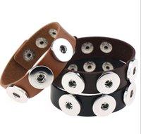 Novo pedaço de couro punk pulseira pulseira braceletes apto para noosa snaps charme charme braceletes intercambiáveis noosa endurecer pulgles 1587